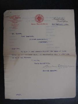 Letter to Haddon re 'types' of convicts at DeBeers
