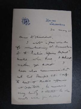 Letter D. R. Haddon to A. C. Haddon