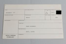 KZNM catalogue card (front view)